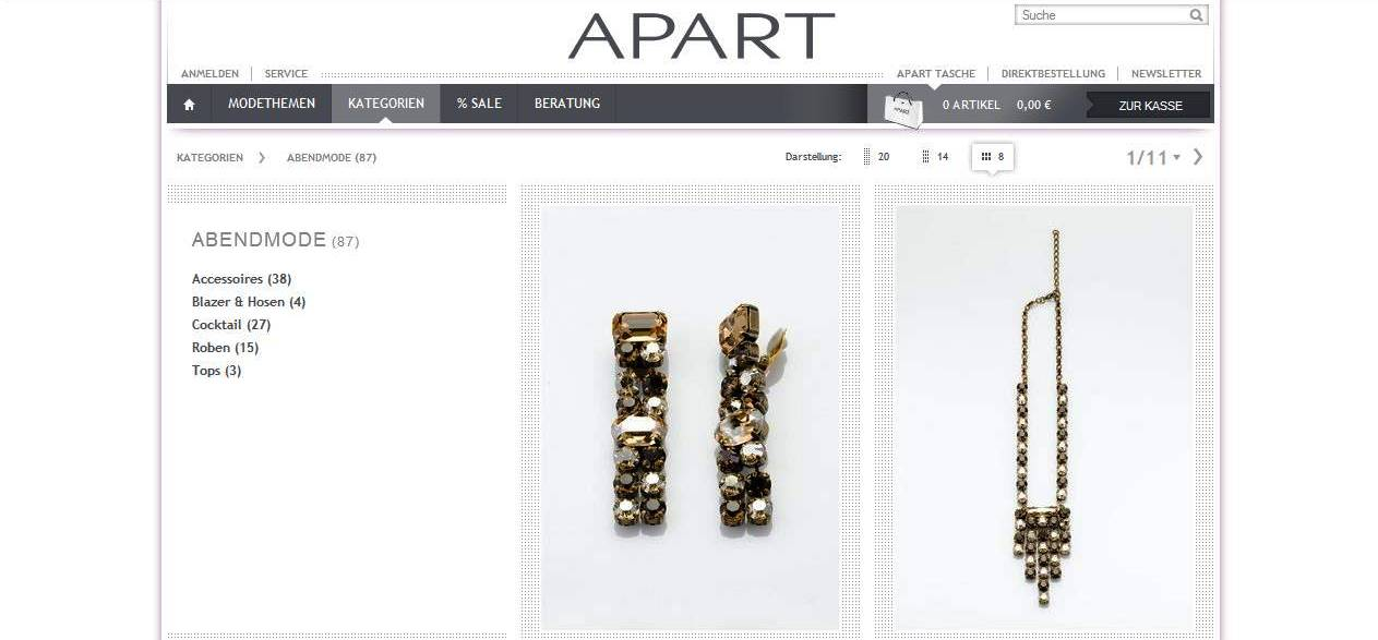 Apart-fashion.de online shop Abbildung